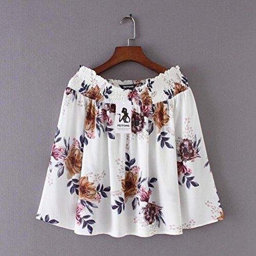 ... MCYs Damen Chiffon Blumendruck Tops Schulterfrei Langarm Shirt Bluse  Beiläufig Bluse Tunika Oberteile Beige ztbpa 6e10bb073b