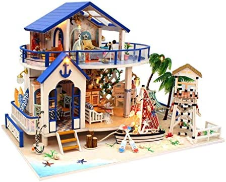 Rylai 3D Puzzles Miniature DIY Dollhouse Kit Legend of The Blue Sea Series Dolls Houses AccessoriesFurniture LED Music Box