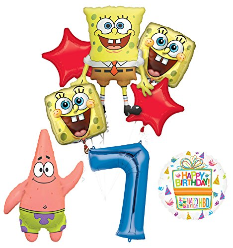 Spongebob Squarepants 7th Birthday Party Supplies and Balloon Bouquet Decorations]()