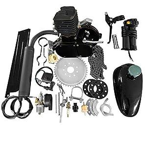 MOTOOS 80CC 26″ 28″ Bike Bicycle Motorized 2 Stroke Cycle Petrol Gas Engine Kit Set (Black)
