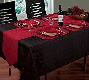 """WOVEN JACQUARD CHECK BLACK TABLE CLOTH 52"""" X 70"""" 8 WINE RED NAPKINS 8 WINE RED PLACEMATS & 1 WINE RED RUNNER"""
