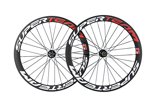 SuperTeam Carbon Disc Wheelset Road Bike 700C 50mm Clincher With Disc Brake - Rim Clincher Disc
