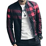 LOGEEYAR Men's Bomber Jacket Casual Slim Fit Printed Outerwear Coat (small, black-red)