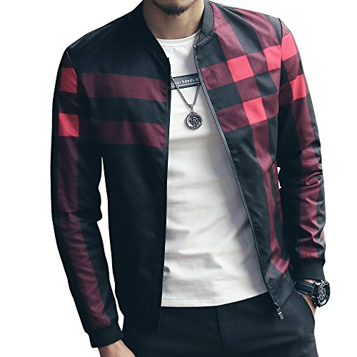 LOGEEYAR Men's Bomber Jacket Casual Slim Fit Printed Outerwear Coat(Black red-M)