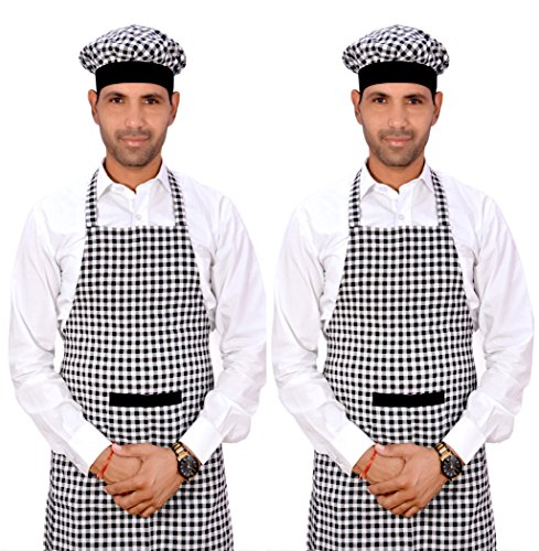 Switchon Checks Kitchen Cotton Apron For Home Hotel And Cafe Pack Of 2,Black & White,30Lx23W Inch,Cotton Price & Reviews