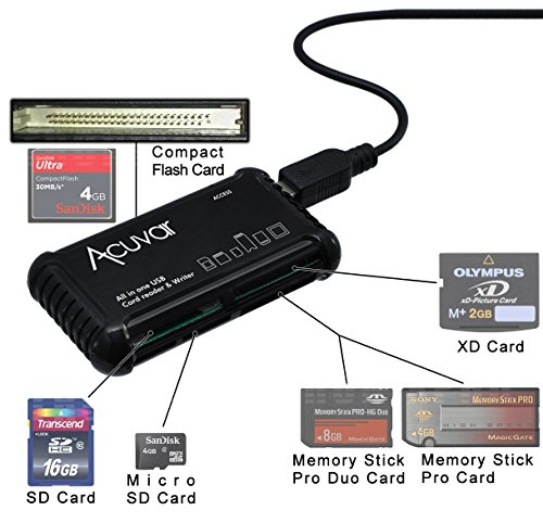 - Acuvar High Speed All-in-1 Memory Card Reader / Writer for SD/SDHC, Micro SD, CF, XD, MS/Pro & Duo Cards