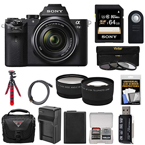 Sony Alpha A7 II Digital Camera & 28-70mm FE OSS Lens with 64GB Card + Case + Battery & Charger + Tripod + Tele/Wide Lens Kit