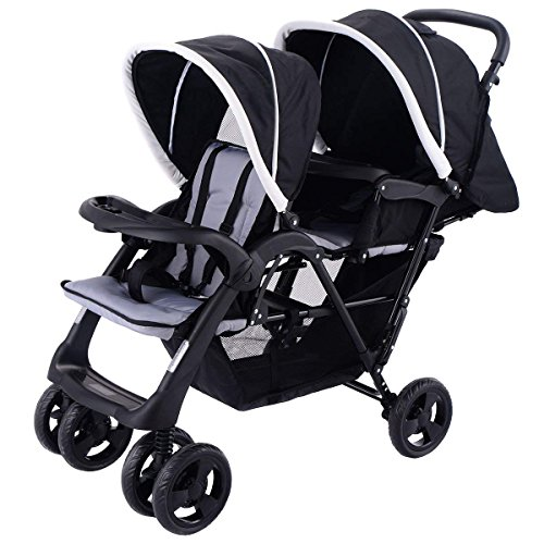 Costzon Double Stroller Infant Baby Pushchair Convenience Twin Seat (Pure Black)