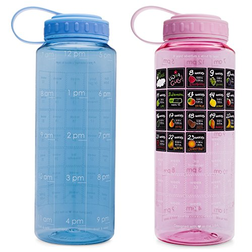 BellyBottle Original Pregnancy Water Bottle Intake Tracker with Time Marker and Weekly Calendar Stickers - Voted top Pregnancy Gifts Must Haves Essentials (Blue)