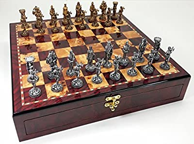 """Medieval Times Crusades Knight Pewter Metal Chess Set W/ 17"""" Gloss Cherry Color Storage Board"""