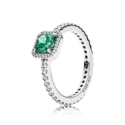 41f82a61f Amazon.com: PANDORA Timeless Elegance Ring, Green & Clear CZ ...