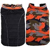 Cheap QBLEEV Pet Clothes & Accessories Reversible Autumn and Winter Large Medium Size Dog Coat Simple Generous Black/Orange Camo Samoye Husky Golden Retriever (XXL(2XL))