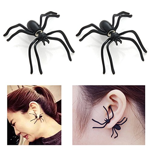 Halloween Fashion 1 Pairs Spider Earrings (Black) 2018