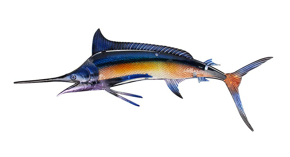 Liffy Metal Sailfish Wall Decor Fish Outdoor Glass Hanging Art Garden Decorations, 34.3 Inches Long by Liffy