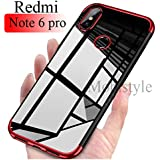 MOBISTYLE Redmi Note 6 Pro - Luxury Electroplating Soft Silicon Transparent TPU Back Case Cover for Redmi Note 6 Pro (Red)