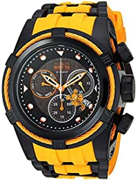 Men's Character Collection Stainless Steel Quartz Watch with Silicone Strap, Black, 36.8 (Model: 25002)