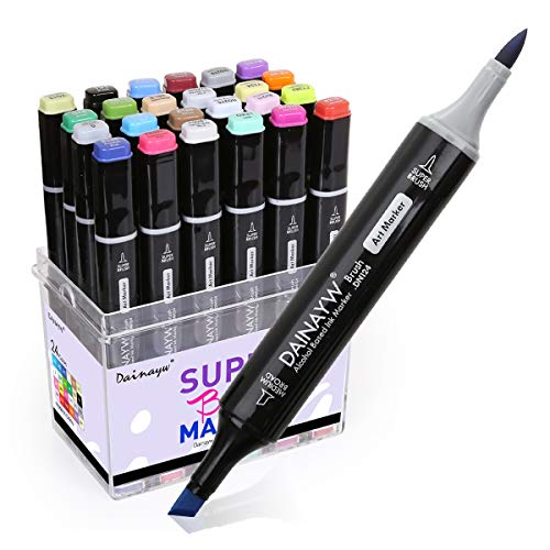 Calligraphy Style Chisel Pen Marker - 24 Colors Permanent Markers, Brush Pens, Calligraphy Markers, Dual Tips Markers for Artist, Kids, Designing Sketch Illustration Manga Drawing, Painting Art Supplies by Daianyw