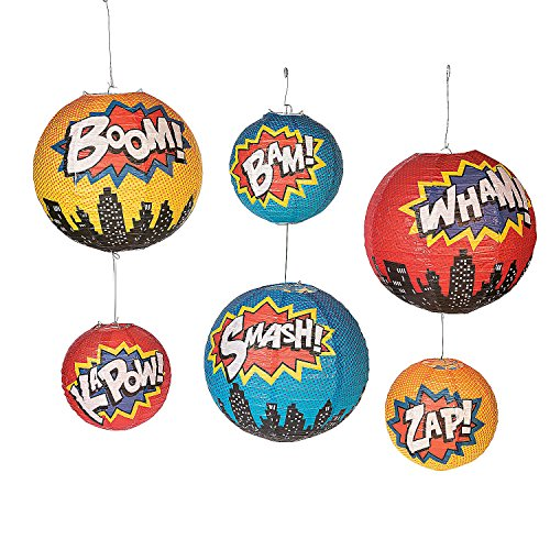 Superhero Hanging Paper Lanterns - 6 Pieces -