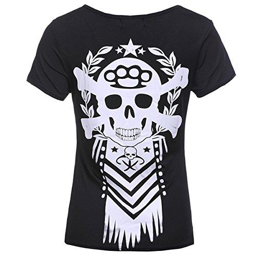 Courtes crane Black pour T Shirt Mtydudxe Femme Manches imprim Bt7pZqw