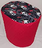 Skulls Webs & Roses Food Processor Cover (Red, Small)
