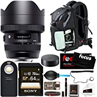 Sigma 12-24mm f/4 DG HSM Art Lens for CANON EF Camera (205954) Ultra Wide Angle Zoom Lens w/ Focus Photo and Travel Bundle