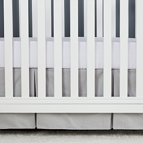 (TILLYOU Gray Pleated Crib Skirt, 100% Natural Cotton, Nursery Crib Bedding Skirt for Baby Boys and Girls, 14'' Drop Pale Gray )
