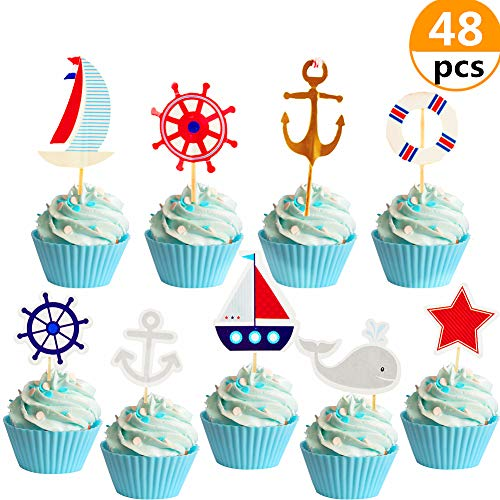 48 Pcs JeVenis Nautical Cupcake Toppers Ocean Cupcake Toppers Navy Cake Decoration Sailing Yacht Boat Pirate Ship Whale Cake Decorations for Baby Shower Birthday Party