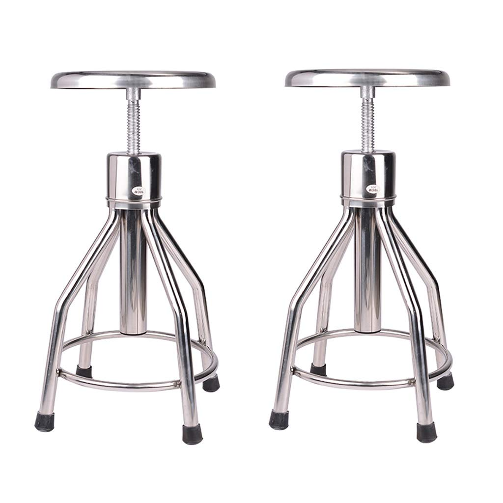 NUBAO 304 Thick Stainless Steel Medical Lifting Stool, Task Chair, Work Bench, Work Stool, Laboratory School Factory Workshop Rotating Chair 50-70cm (Color : Pulley Section×2)