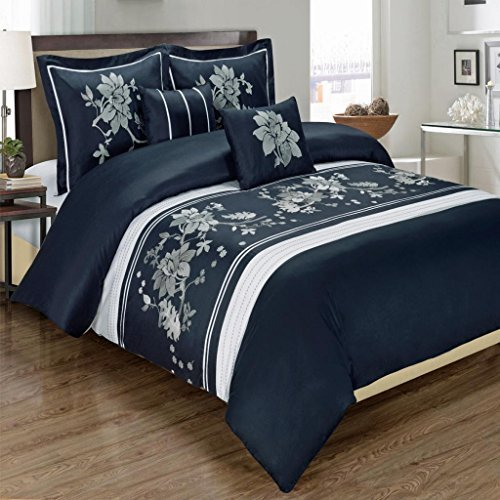 Super Luxurious 100% Egyptian Cotton 5 Piece Myra Navy CALIFORNIA (CAL) KING Size Embroidered Duvet Cover Set with Pillow Shams and Decorative Pillows