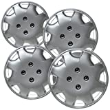Hubcaps 12 inch Wheel Covers - (Set of 4) Hub Caps for 12in Wheels Rim Cover - Car Accessories Silver Hubcap Best for 12inch Cars Standard Steel Rims - Snap On Auto Tire Replacement Exterior Cap