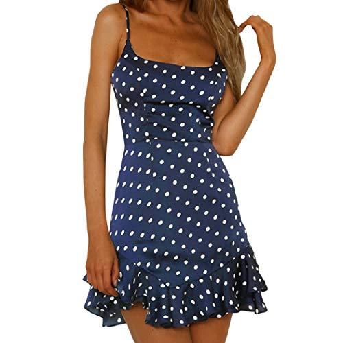 Wintialy Women Back Bow Dot Printing Sleeveless Mini Dress Summer Beach Dress Navy