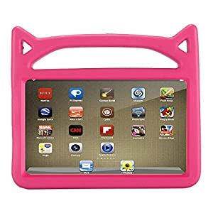 "Fire 7 2017 Kiddie Case, Fire 7 2015 Kiddie Case, TUYOO Cartoon Lightweight Shockproof Hand-Free Kids Safe Cover Case for Amazon Fire 7 Tablet (7"" Display, 2015&2017 Release) (Rose)"