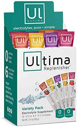 Ultima Replenisher Electrolyte Hydration Powder, Variety Pack, 20 Count Stickpacks - Sugar Free, 0 Calories, 0 Carbs - Gluten-Free, Keto, Non-GMO, Vegan