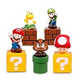 Super Mario Brothers Birthay Cake Topper, Super Mario Bros Action Figures, Mini Super Mario Bros Figures Bundle including Mario, Luigi, Mushroom, Goomba, Koopa Troopa, 2'