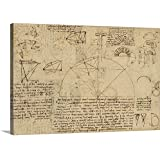 """Leonardo da Vinci Premium Thick-Wrap Canvas Wall Art Print entitled Geometrical study about transformation from rectilinear to curved surfaces 24""""x16"""""""