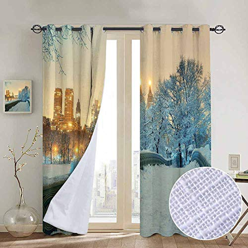 "NUOMANAN Living Room Curtains Winter,Central Park Winter Season with Skyscrapers and Snow Bow Bridge Manhattan New York,Adjustable Tie Up Shade Rod Pocket Curtain 84""x100"""
