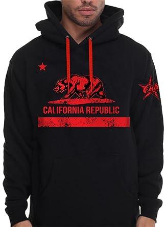 6688a636c Red California Republic Hoodie For Men Pullover Sweatshirt Cali Bear Flag  (2X - XXL -