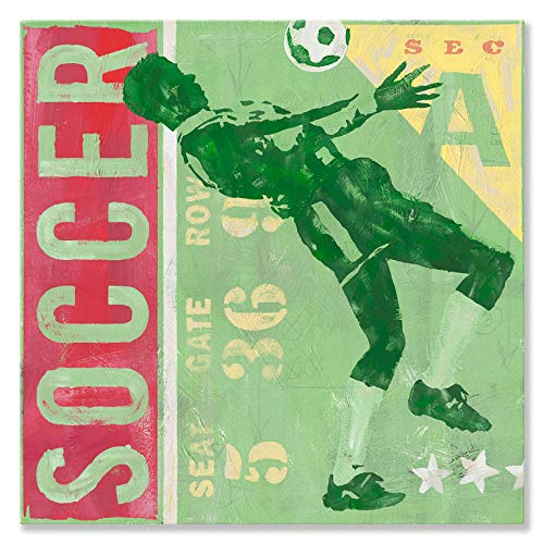 Oopsy Daisy Game Ticket - Soccer Canvas Wall Art, 14x14, Green