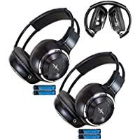 Pair of Two Channel Folding Adjustable Universal Rear Entertainment System Infrared Headphones With 2 Additional 48 3.5mm Auxiliary Cords Wireless IR DVD Player Head Phones for in Car TV Video Audio Listening