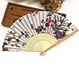 White Purple 30Pcs/Lot Engraving Name And Date On The Rib For Wedding Souvenir Beauty Fabric Hand Fans