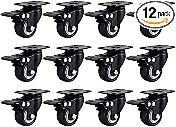 Online Best Service 24 Pack Swivel 1.5 Caster Wheels Rubber Base with Top Plate /& Bearing Heavy Duty with Total Lock Brake 24 Pack with Brake