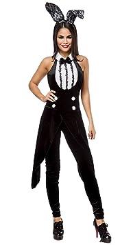 AT 2-tlg. Bunny Set Samt Jumpsuit in Frack-Optik Hasen Kostüm Overall, Haarreif mit Ohren in schwanz weiß Sexy Hasenkostüm Pl