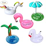5 Pack Big Inflatable Drink Holder PVC Unicorn Flamingo Palm Tree Mushroom White Swan Inflating Floating Drink Coasters Cup Holders Pool Party