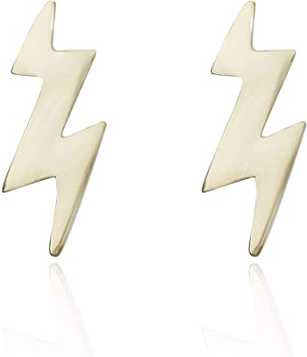 Amazon Com Avora 10k Yellow Gold Lightning Bolt Stud Earrings Jewelry