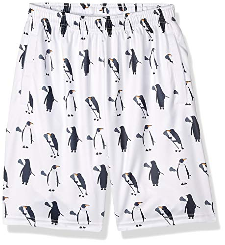 Lacrosse Shorts - Penguins with Lacrosse Sticks Pattern, Knee Length with Deep Pockets, Youth Medium