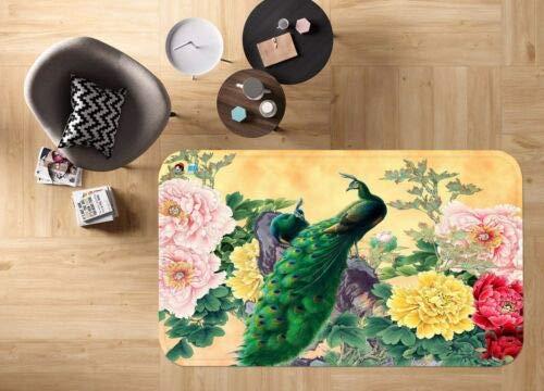 H40cmxW60cm 3D Peacock Green 50 Non Slip Rug Mat Room Mat Quality Elegant Photo Carpet
