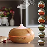 Kekilo Wood-Grain 300ml Ultrasonic Aroma Diffuser for Essential Oils, Cool Mist Air Humidifier with 7 Color LED Lights Changing for House Office Yoga Spa Baby Bedroom Living Room GX-12K (Light Wood)