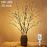 lighted tree branches Twinkle Star 150 LED Lighted Brown Willow Branches 32 Inch 3 Pack Artificial Branches Plug in for Indoor Outdoor Christmas Wedding Party Home Decoration (Vase Excluded)