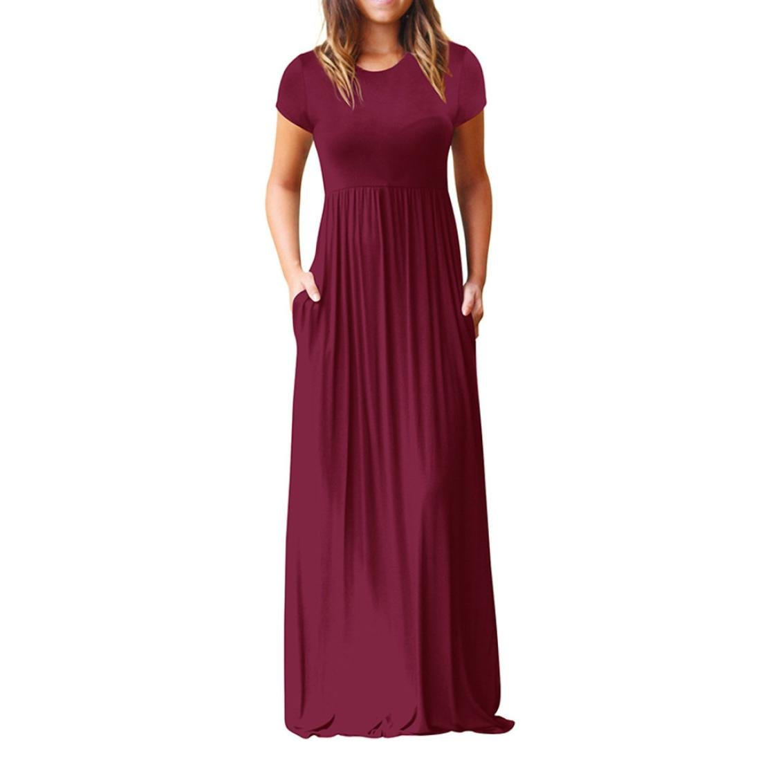 Loose Party Dress for Women O Neck Casual Short Sleeve Floor Length Dress with Pocket