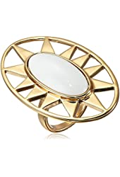 "Trina Turk ""Tribal Wave"" Gold Plated Sunburst Cocktail Ring, Size 7"